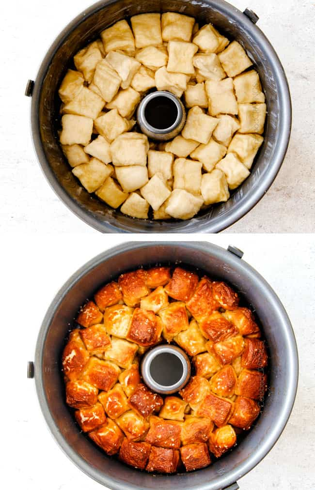 Soft, buttery Pretzel Monkey Bread with the most addicting Honey Mustard Dip! I always bring this crowd pleasing appetizer to parties and it is the first to go!E