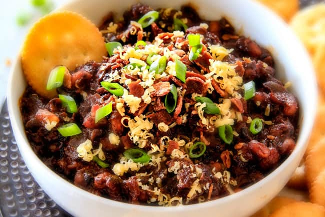 Super easy Boston Baked Bean Dip piled with bacon, cheese, sour green ...