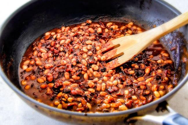 Simmering the Boston Baked Bean Dip.