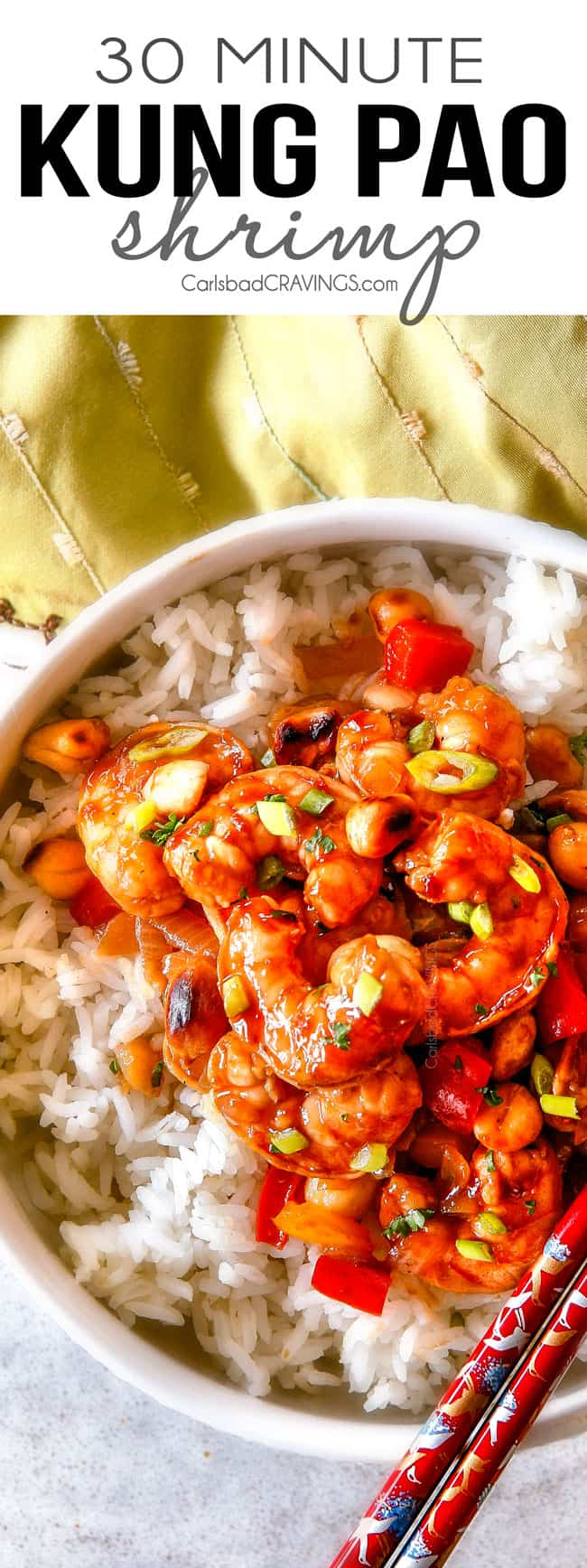 This easy, healthy, Kung Pao Shrimp tastes better than takeout and is on your table in less than 30 minutes! I was licking my plate of the savory spicy sauce!