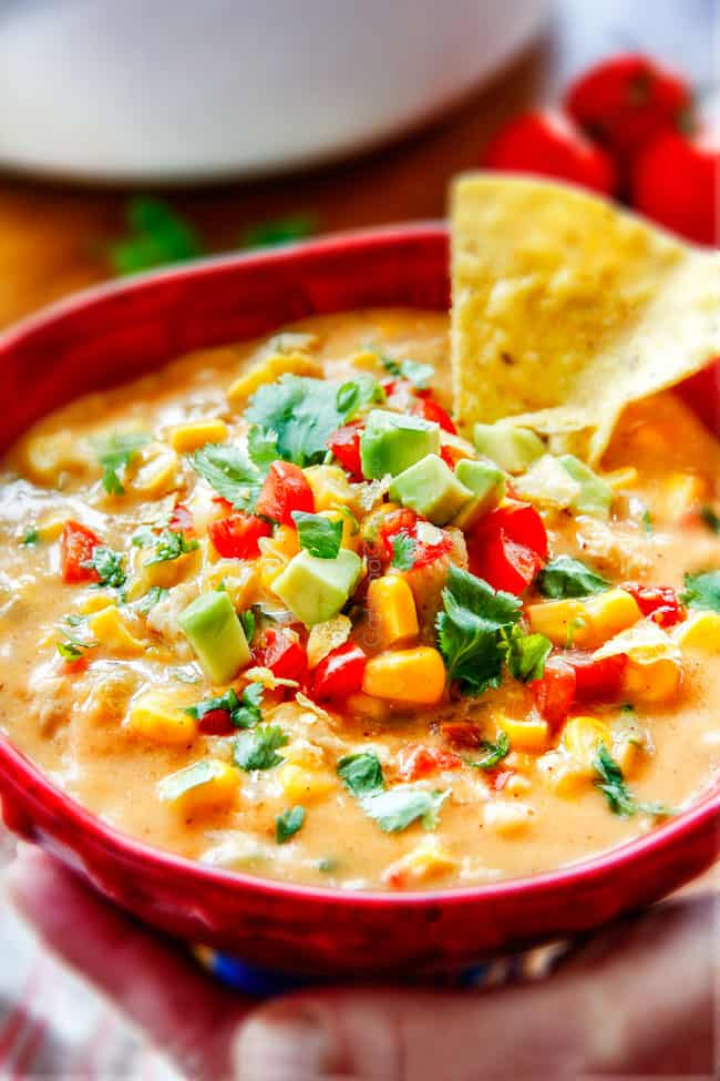 30 Minute LIGHTENED UP Mexican Chicken Corn Chowder is one of my family's favorite soups ever! Its cheesy, creamy (without any heavy cream!), comforting and the layers of flavors are out of this world!
