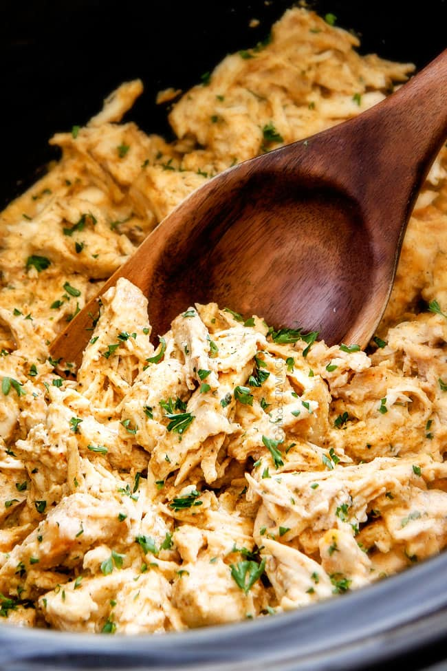 crockpot Cream Cheese Chicken in a slow cooker