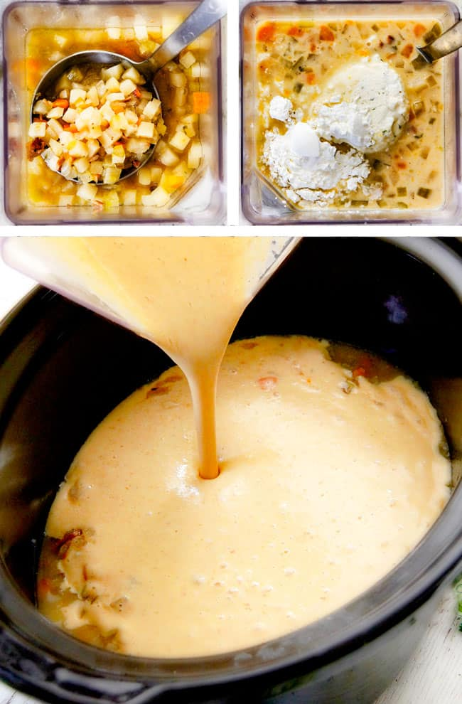 showing how to make crockpot soup creamy by adding flour and potatoes in a blender to puree.