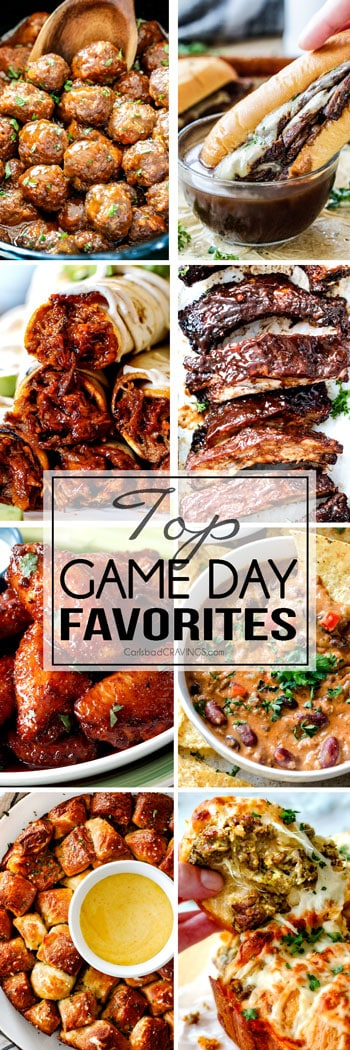 Top Game Day Recipe Favorites from dips to meatballs and from appetizers to main dishes! You are guaranteed to find some of the BEST football party recipes right here!