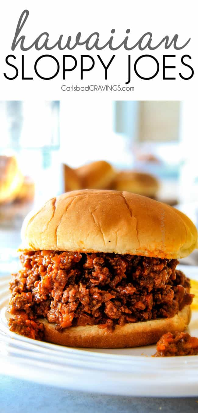 up close of easy sloppy joes with filling spilling out of the soft bun