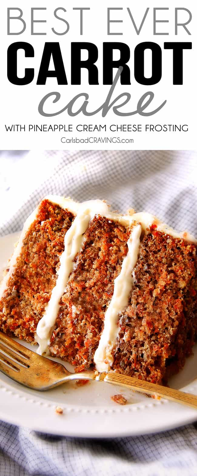 easy Carrot Cake with Cream Cheese Frosting on a white plate with a golden fork