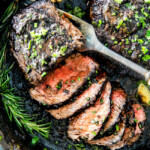 Pan Seared Steak with Balsamic Herb Cream Sauce