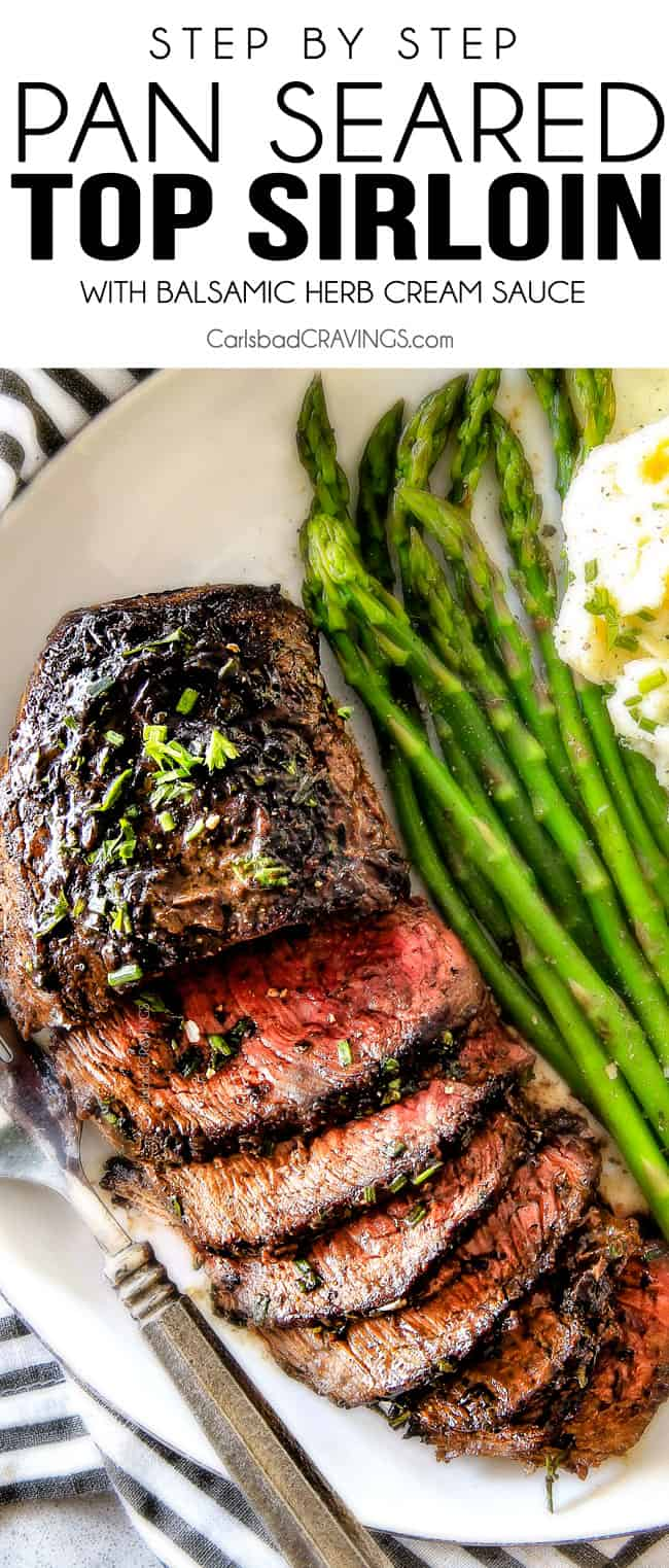 Pan Seared Steak with Balsamic Herb Cream Sauce.