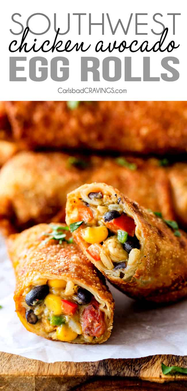 up close of two southwest egg rolls cut open with chicken, corn, black beans, tomatoes and avocao