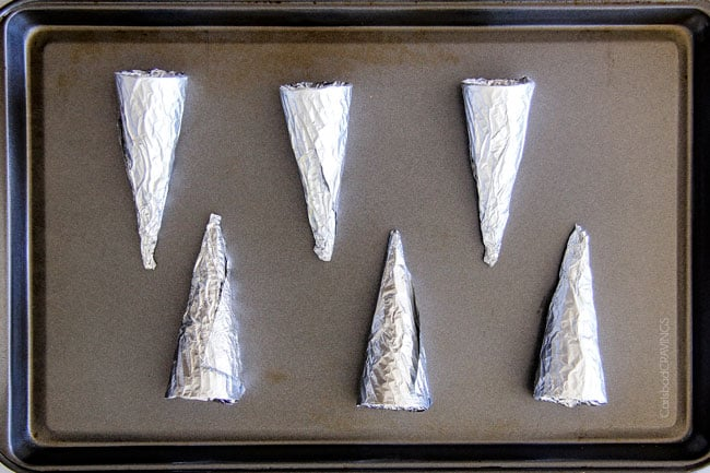 Showing how to make Puff Pastry Cannoli Cones using foil to form cone shape.