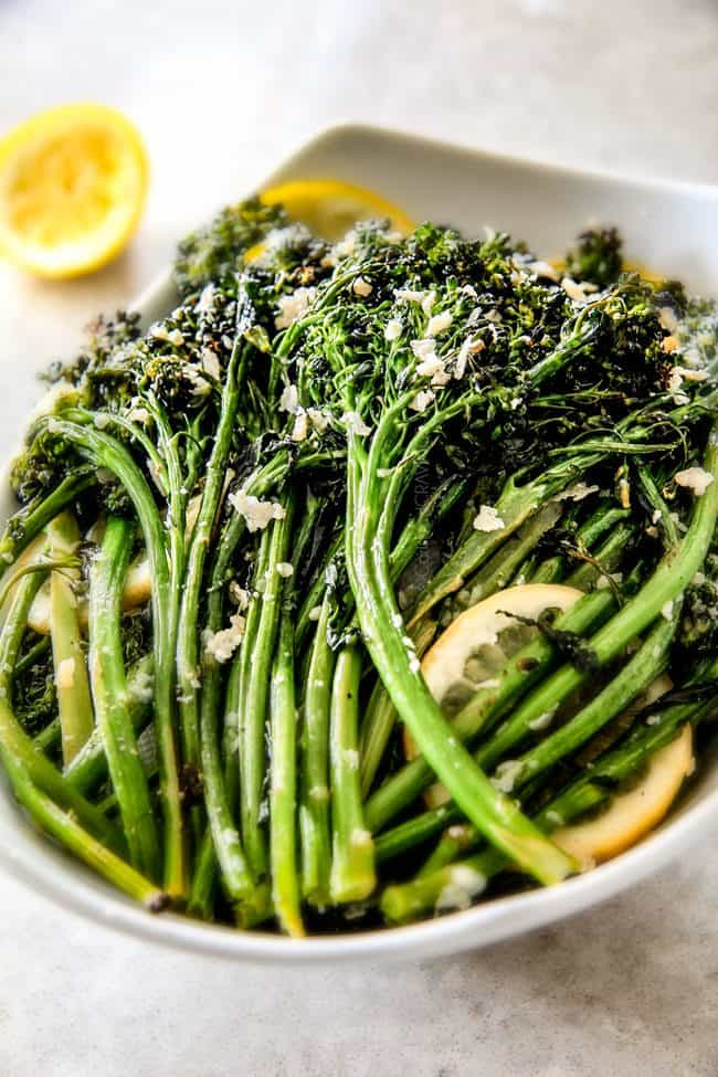 Roasted Parmesan Lemon Garlic Broccoli (or Broccolini) is bursting with flavor, caramelized edges and the easiest side dish to every meal!