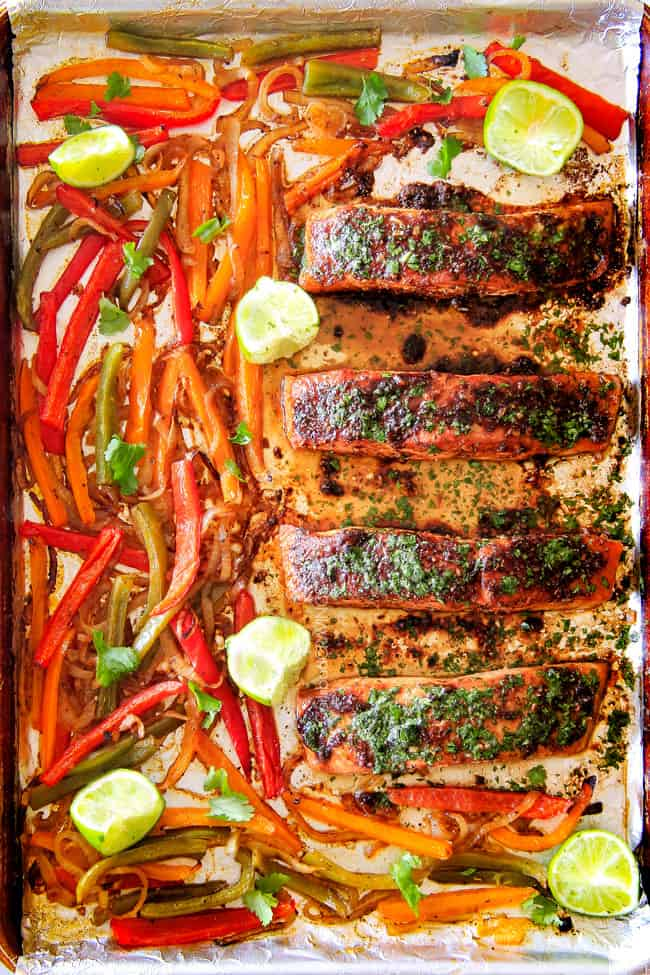 Showing cooked Sheet Pan Fajita Salmon with Cilantro Lime Butter.