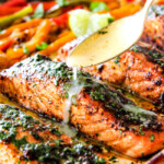 Sheet Pan Fajita Salmon with Cilantro Lime Butter