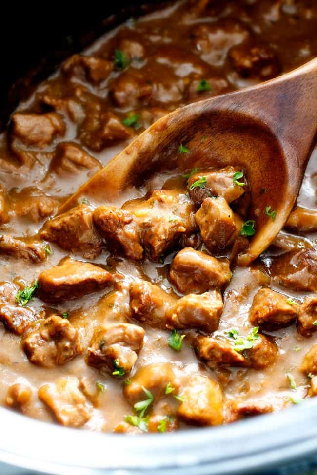 "Ridiculously tender, Homemade Slow Cooker Beef Tips and Gravy (without any ""cream of"" anything!) is richly satisfying, comforting and flavorful and the perfect make ahead meal for busy weeknights! I also love serving it for special occasions or holidays because it is so easy, make ahead and super easy to double or triple the recipe!"