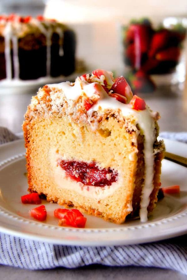 Strawberry Cream Cheese Stuffed Sour Cream Coffee Cake