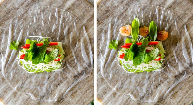 a collage showing how to make Vietnamese Spring Rolls by layering vegetables with mint, cilantro, basil and shrimp