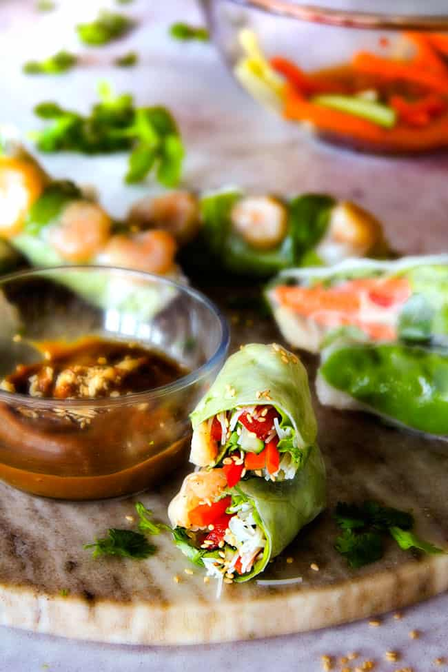 Vietnamese Spring Rolls with peanut sauce on a marble cutting board