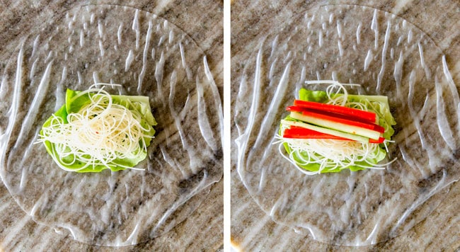 a collage showing how to make Vietnamese Spring Rolls by layering rice paper with lettuce, vermicelli, cucumber, bell peppers, carrots