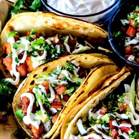Baja Fish Tacos with Pico de Gallo and White Sauce