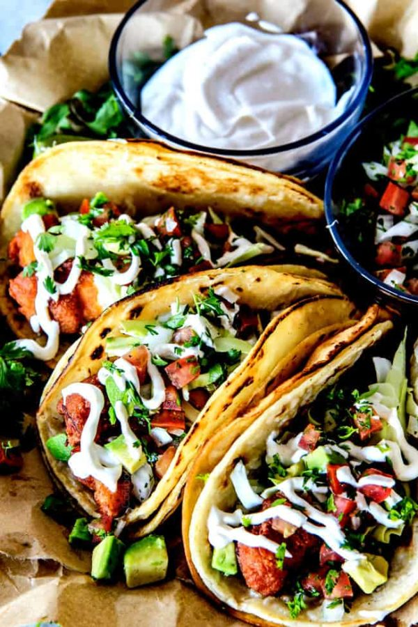 Best crispy baja fish tacos with pico de gallo white for Fish burrito recipe