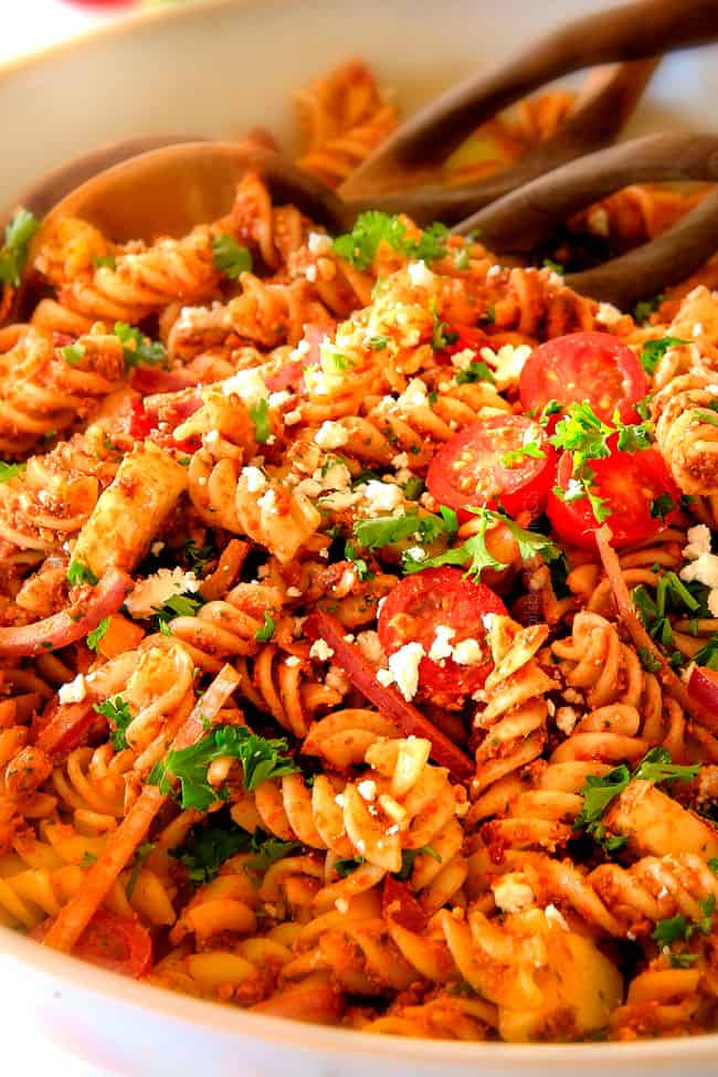 BEST EVER Greek Pasta Salad WITH Sun Dried Tomato Feta Pesto