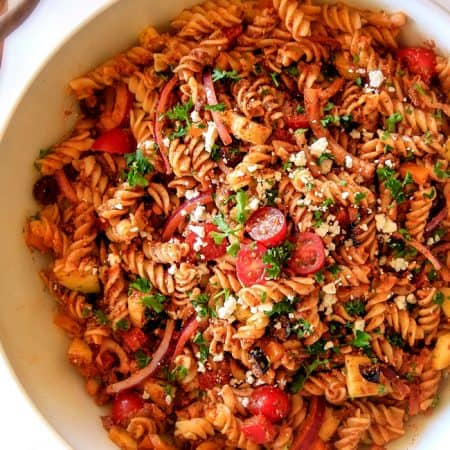 Greek Pasta Salad with Sun-Dried Tomato Feta Pesto
