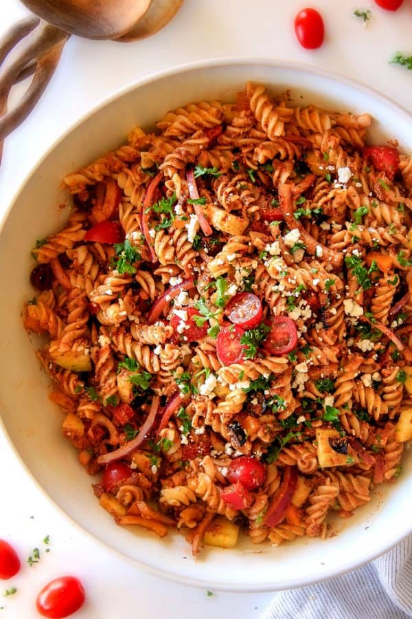 Easy, make ahead, Greek Pasta Salad Sun-Dried Tomato Feta Pesto will be the BEST Greek pasta salad you ever make! The perfect crowd pleasing side for all your holidays, potlucks and parties!