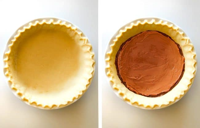 showing how to make cookie pie by adding premade pie crust to pie pan and filling with nutella