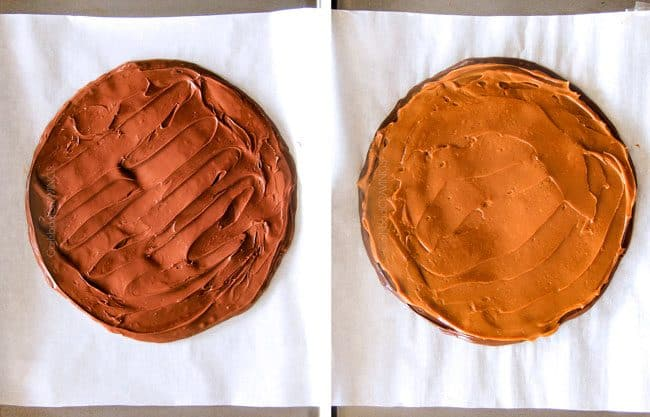 showing how to make cookie pie by making a disc of nutella and a disc of dulce de leche and freezing