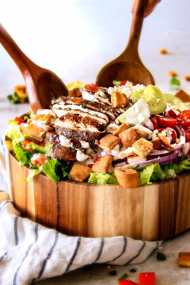 The BEST Greek Chicken Salad loaded with crazy delicious Pita Croutons and creamy Tzatziki Dressing! Its like a deconstructed gyro you will crave for days!