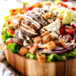 Greek Chicken Salad with Pita Croutons and Tzatziki Dressing
