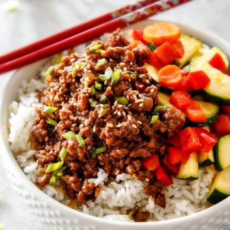 Korean Beef Bowls with Veggies (30 Minutes!)