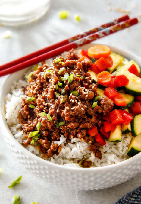30 Minute Korean Beef Bowls are my absolute favorite last minute dinner! bursting with flavor and one of the absolute easiest meals you will ever make!