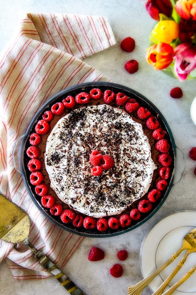 top view of Mississippi mud pie recipe with Oreo crust
