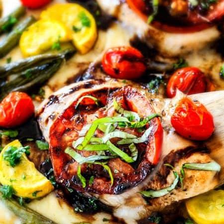 Sheet Pan Caprese Balsamic Chicken and Veggies