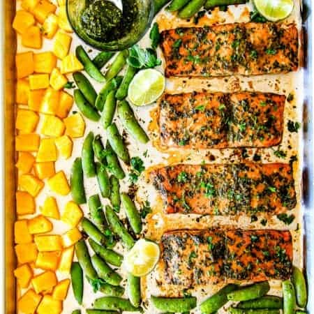 Sheet Pan Asian Chimichurri Salmon with Pineapple and Snap Peas (Video)