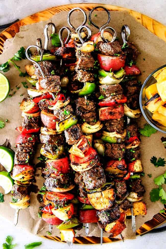 Brazilian steak kabobs video with potatoes bell peppers onions forumfinder Choice Image
