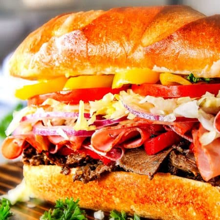 Loaded Slow Cooker Italian Beef Sandwiches (Video!)