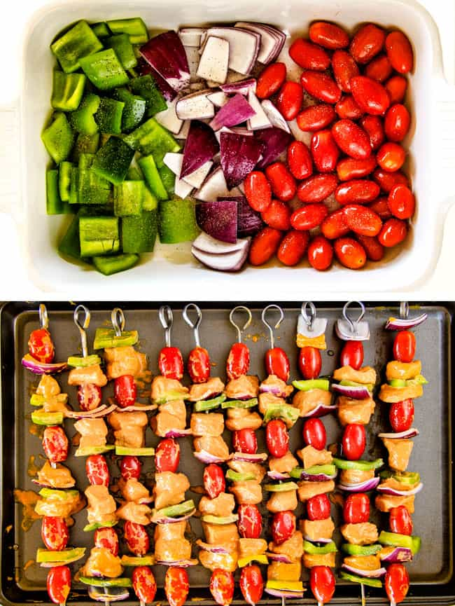 Showing how to put vegetables and chicken on a skewer.