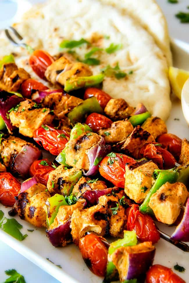 Tandoori Chicken Kabobs with onions and green peppers.