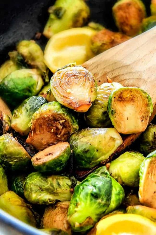 These nutty, caramelized 15 Minute Brussels Sprouts sauteed with garlic, butter and lemon are one of my favorite sides ever and I love the steaming trick for even cooking!