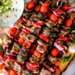 Greek Beef Kabobs (Souvlaki) with Whipped Feta Tzatziki Dip
