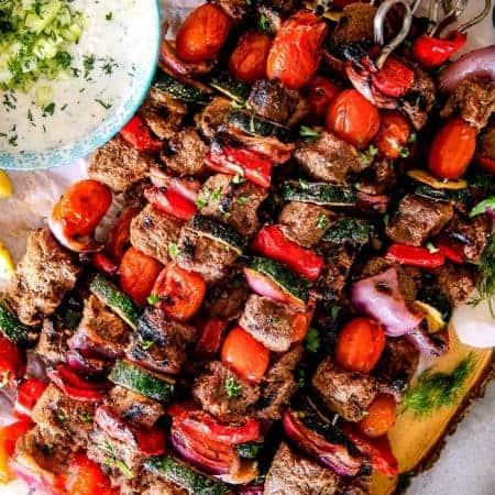 Greek Beef Kabobs (Souvlaki) with Whipped Feta Tzatziki Dip