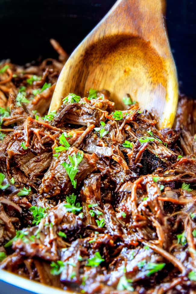 up close of slow cooker roast beef for sandwiches