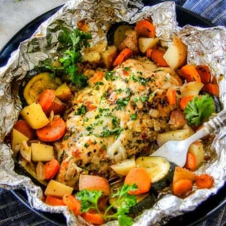 Italian Mozzarella Chicken Foil Packets with Potatoes, Carrots & Zucchini