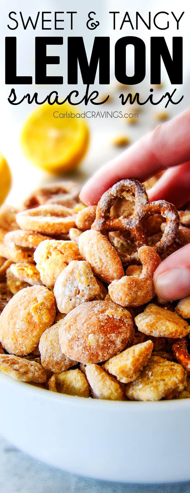 Everyone begs me to bring this seriously addicting Lemon Snack Mix to every party and get together!  Its super easy, make ahead,sweet and tangy andcoated in AMAZING White Chocolate Lemon Glaze! Your friends will love it!