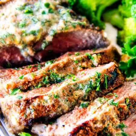 Spice Rubbed Steaks with Herb Butter (grill or pan seared)