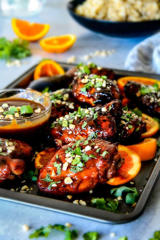 this Thai Orange Peanut Chicken (Grilled or Baked) is phenomenal! Its one of my favorite sweet, tangy savory chicken recipes ever! the chicken is soooooo juicy and the sauce is out of this world!