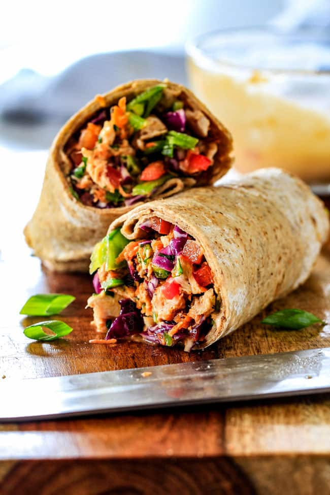 Chinese Chicken Salad Wraps on a cutting board.