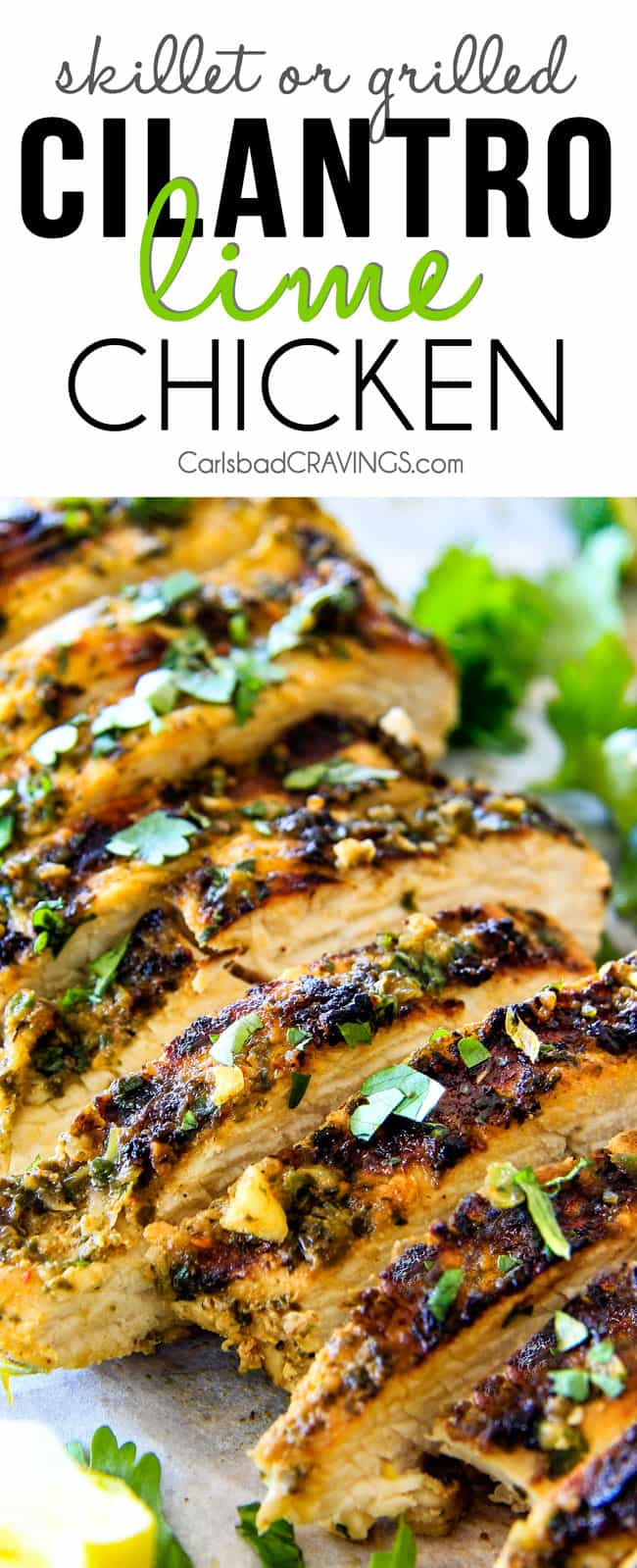 Easy, juicy, flavorful Cilantro Lime Chicken seeping with flavor is a meal in itself or instantly transforms salads, tacos, burritos, wraps, etc into the most epic meal EVER! I love having this chicken on hand!